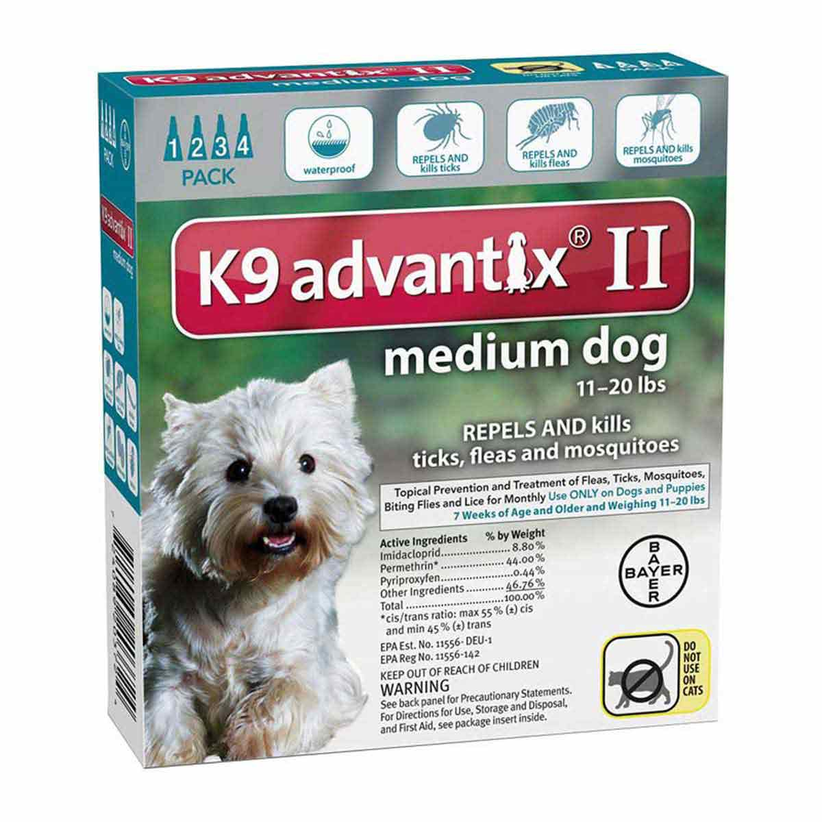 4 Pack of K9 Advantix II Teal Flea Treatment for Dogs 11-20 lbs