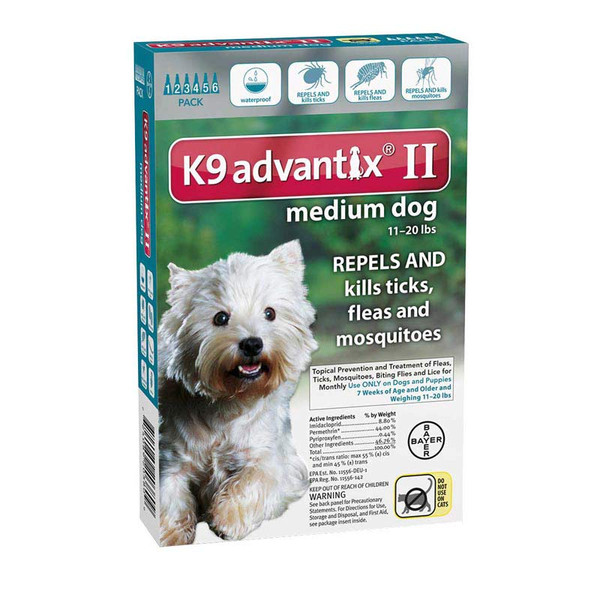 6 Pack of K9 Advantix II Teal Flea Treatment for Dogs 11-20 lbs