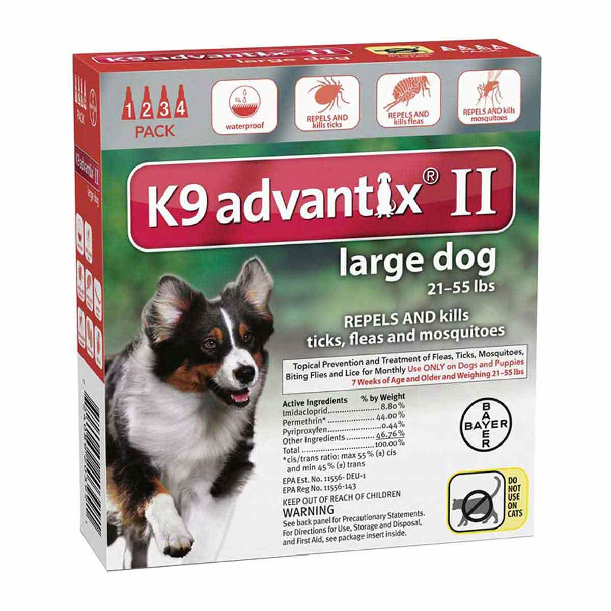 4 Pack K9 Advantix II Red Flea Treatment for Dogs sizes 21-55 lbs
