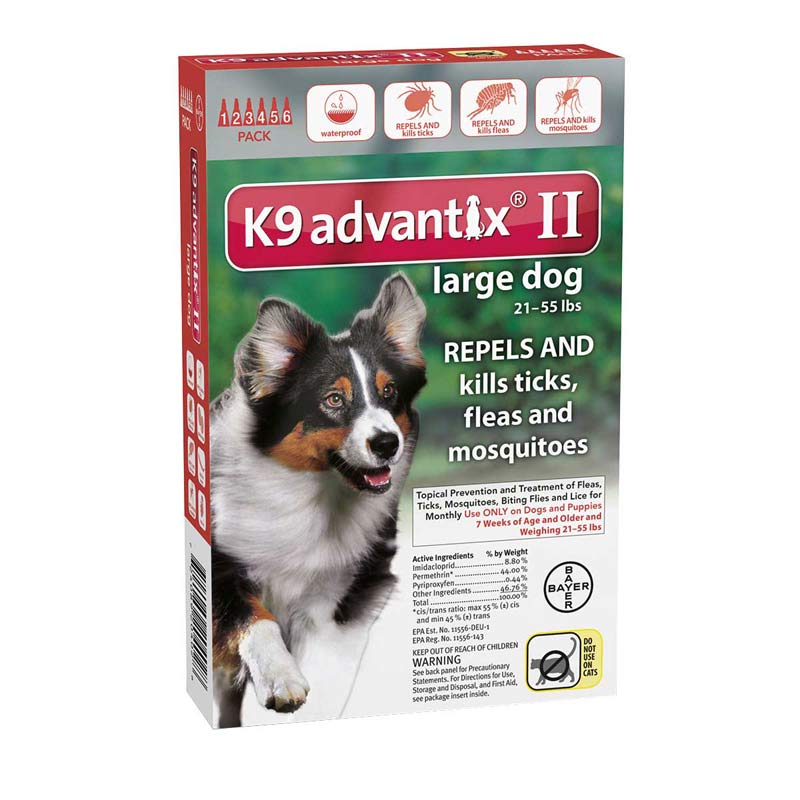 6 Pack K9 Advantix II Red Flea Treatment for Large Dogs 21-55 lbs