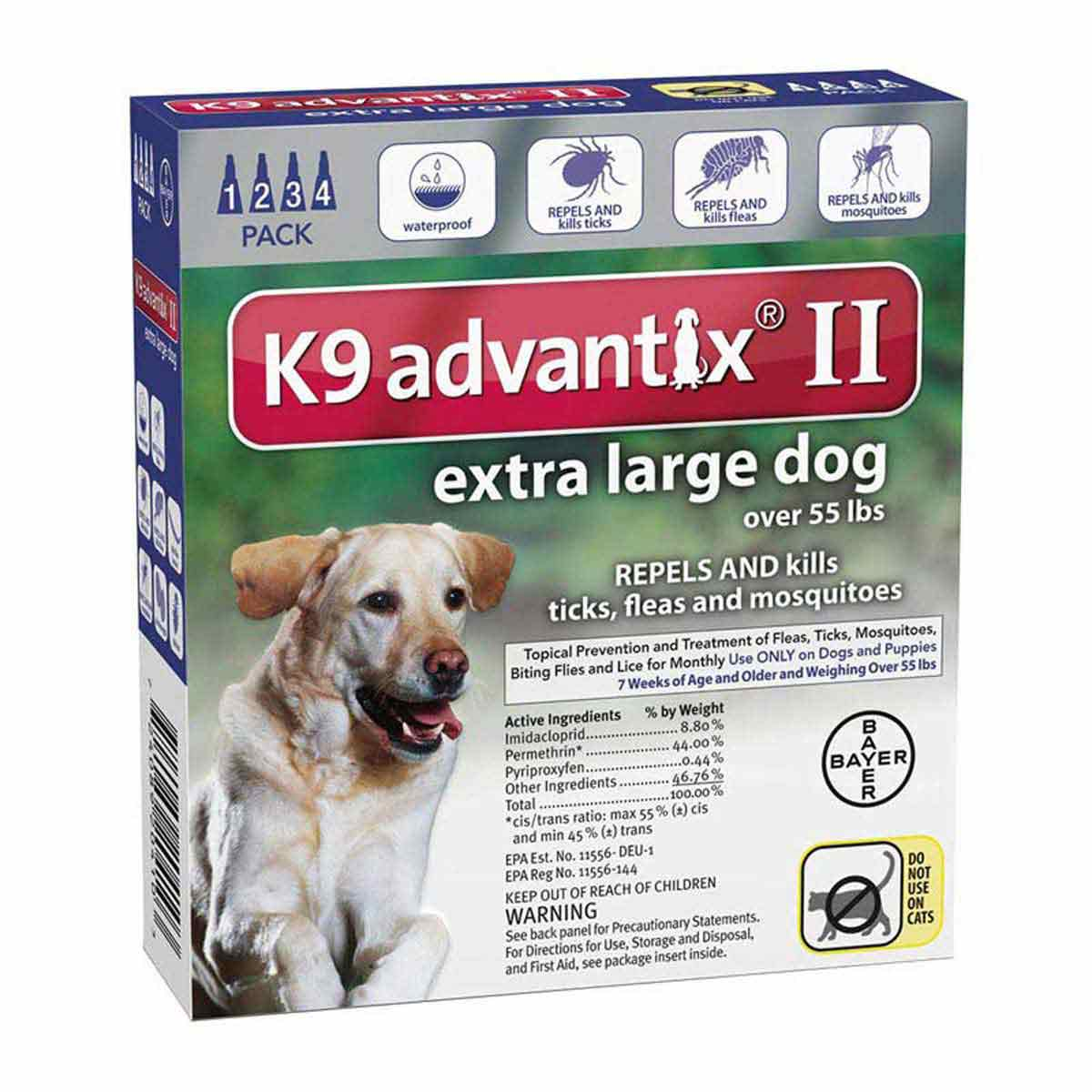 K9 Advantix II Blue Flea Treatment for large Dogs Over 55 lbs 4 Pack
