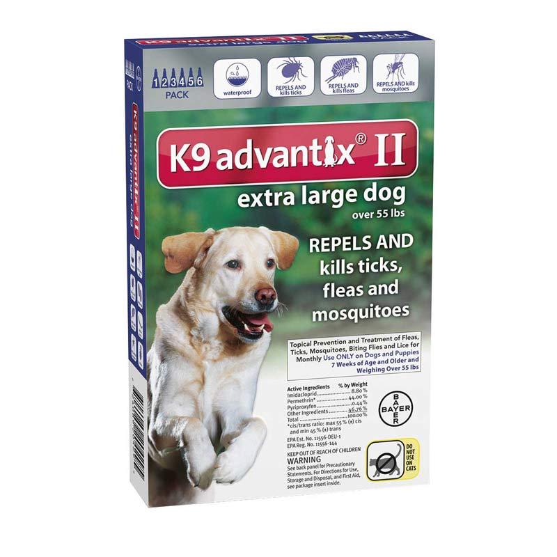 6 Pack K9 Advantix II Blue Flea Treatment Extra Large Dogs Over 55 lbs