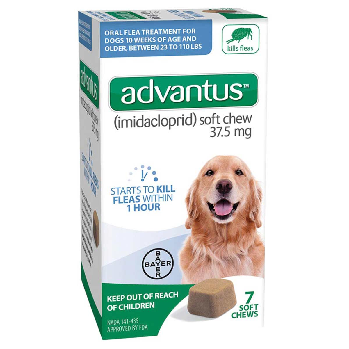 7 Count Advantus Soft Chew Large Dogs Flea Treatment 23-110 lbs