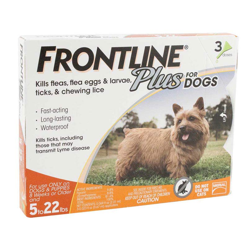 Frontline Plus Orange Flea Treatment for Dogs 5-22 lbs 3 Pack