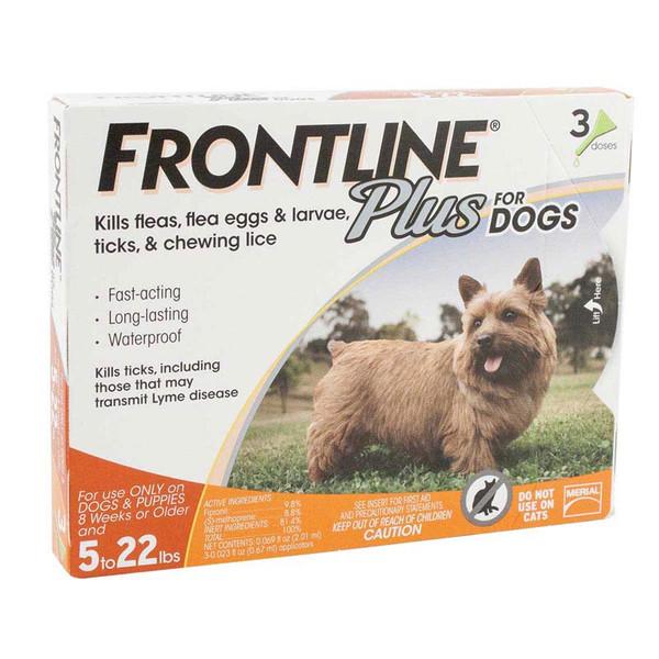Frontline Plus Orange Flea Treatment for Dogs 5-22 lbs 3 Pack