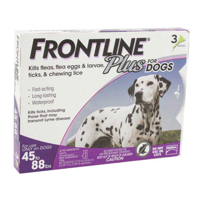 3 Pack Frontline Plus Purple Flea Treatment Dogs 45-88 lbs