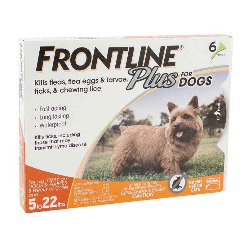 6 Pack Frontline Plus Orange Dog Flea Treatment Sizes 5-22 lbs