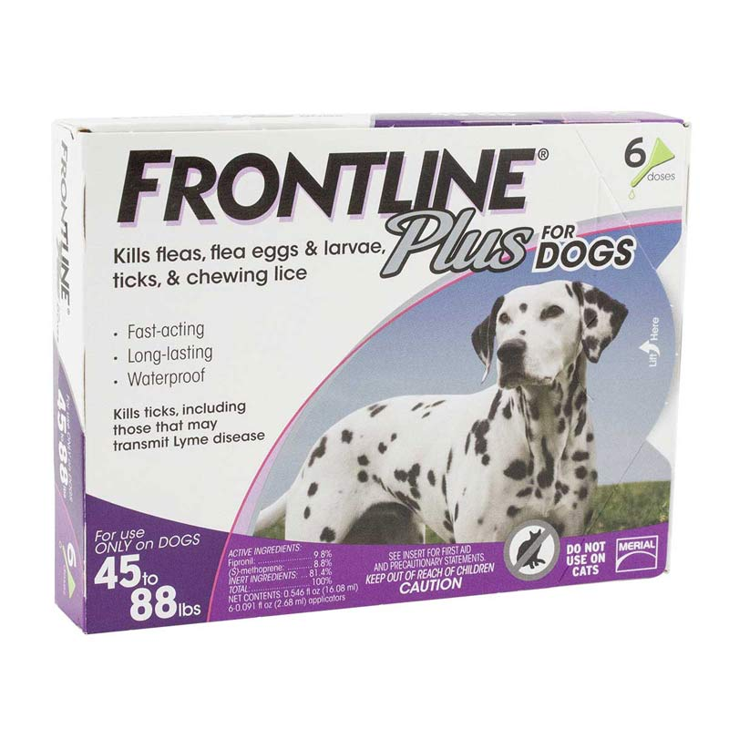 6 Pack Frontline Plus Purple Flea Treatment for Dogs 45 - 88 lbs