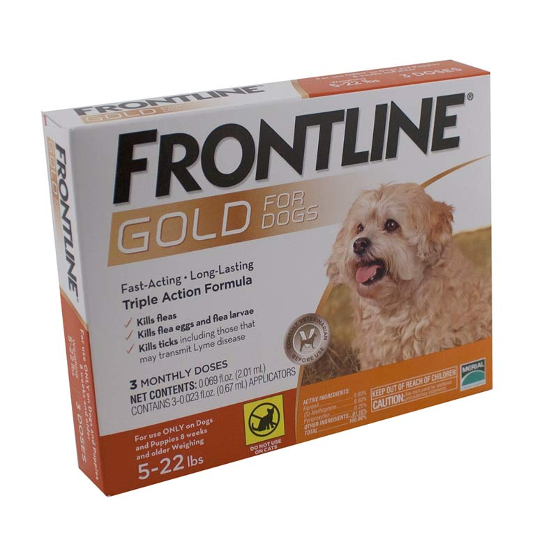 3 Pack Frontline Gold Orange Flea Treatment for Dogs 5-22 lbs