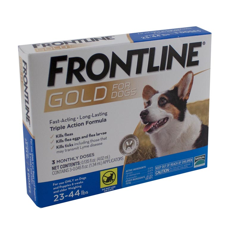 3 Pack Frontline Gold Flea Treatment for Dogs 23-44 lbs