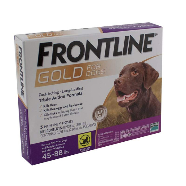 Frontline Gold 3 Pack Flea Treatment for Dogs 45-88 lbs