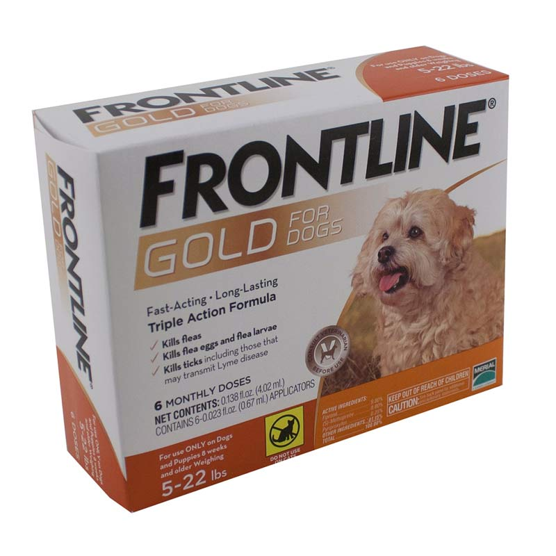 6 Pack Frontline Gold Flea Treatment for Dogs sizes 5-22 lbs