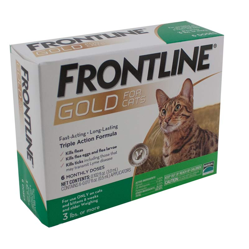 6 months Frontline Gold Flea Treatment for Cat 8 Weeks and Older and more than 1.5 lb
