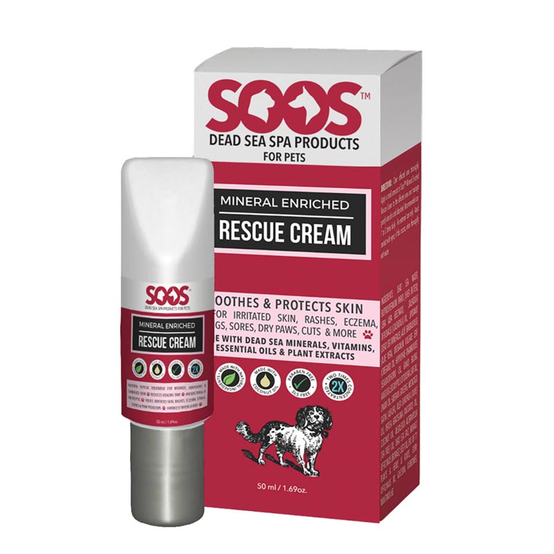 Soos Mineral Enriched Rescue Cream - Soothes and Protects Pet Skin 1.7 oz