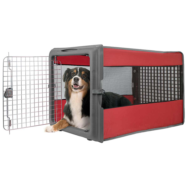 Dog sitting in Large Pop Open Dog Kennel with Wire Door
