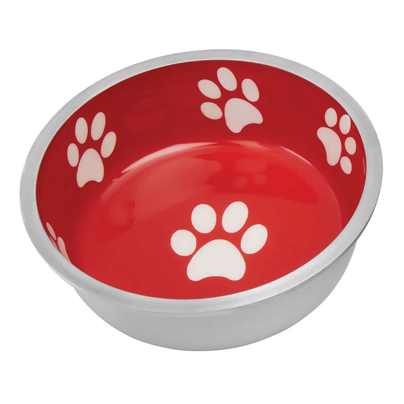 Indipets Super Max X-Small Red Dog Bowl with White Paw Prints