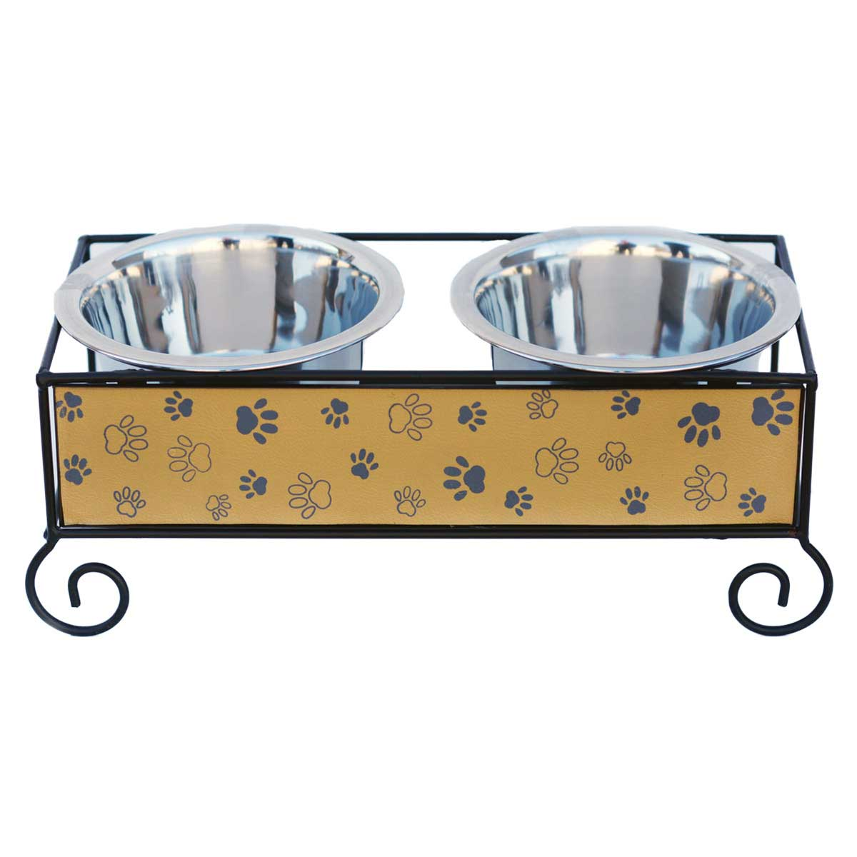 Indipets Luxe Craft Dog Diner 1 Pint Wood And Iron Paw Design