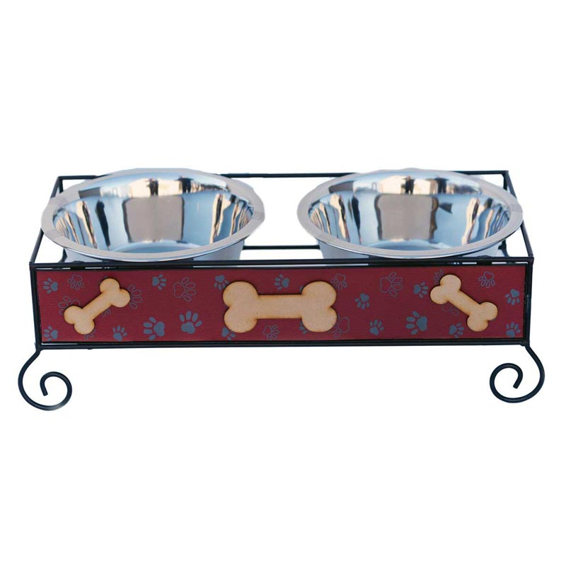 Indipets Luxe Craft Dog Diner Large 1 Quart Wood And Iron Bone Design