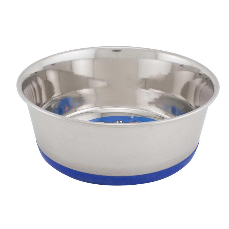 Indipets Premium Dishes With Bonded Rubber Base 2 Quart Blue
