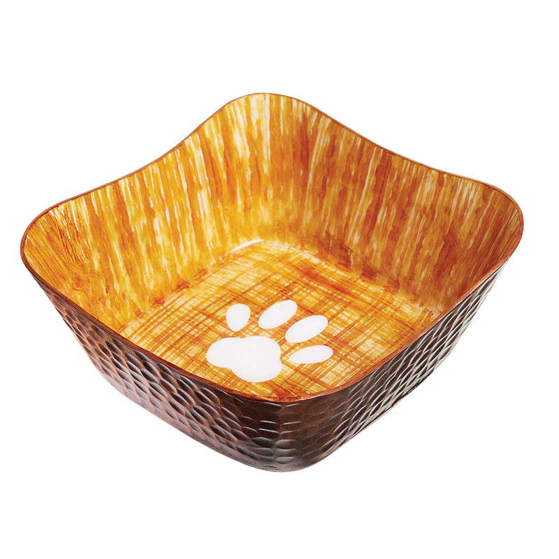 Indipets Large Square Hammered Finish Dog Bowl - Orange and Brown