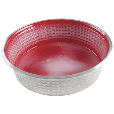 Candy Red XS 6 oz Indipets Jack and Jill Stainless Steel Dog Dish