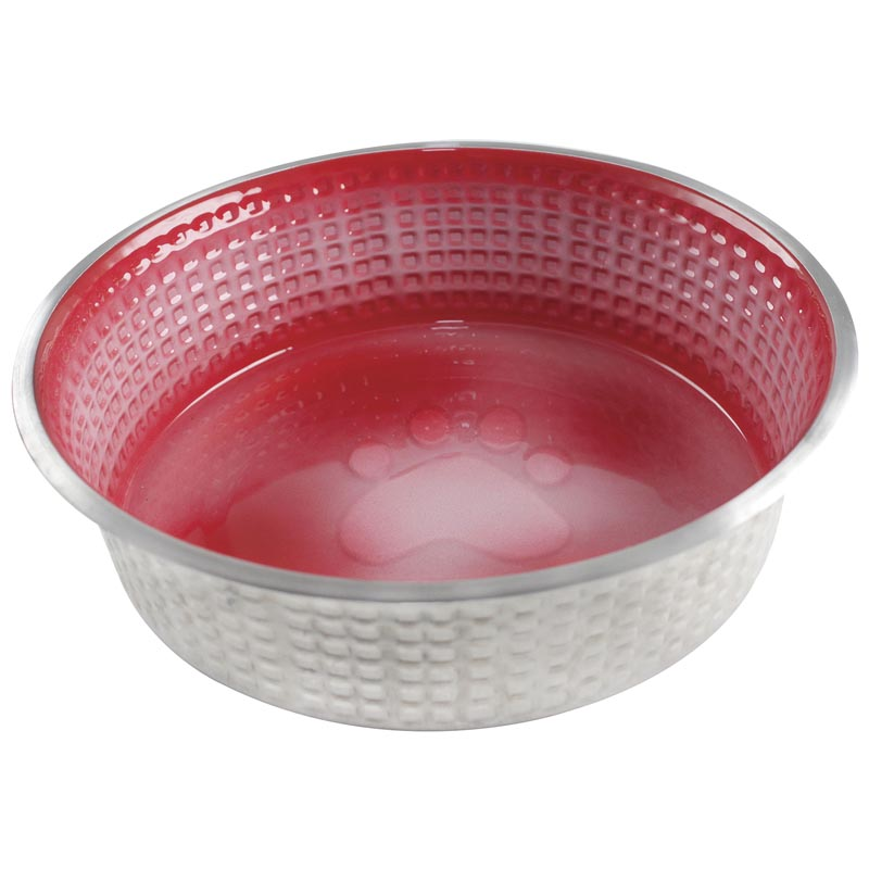 Candy Red Large 40 oz Indipets Jack and Jill Stainless Steel Dog Dish