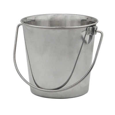 Indipets Stainless Steel Pail With Handle 16 Quart for Kennels and Vets