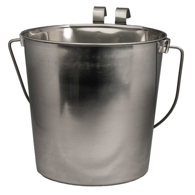 Indipets Flat Side 9 Quart Stainless Steel Pail With Handle for Kennels and Vets
