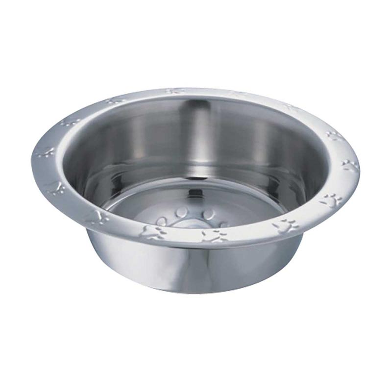 Indipets Paw Print Embossed Stainless Steel Dish 2 Quart