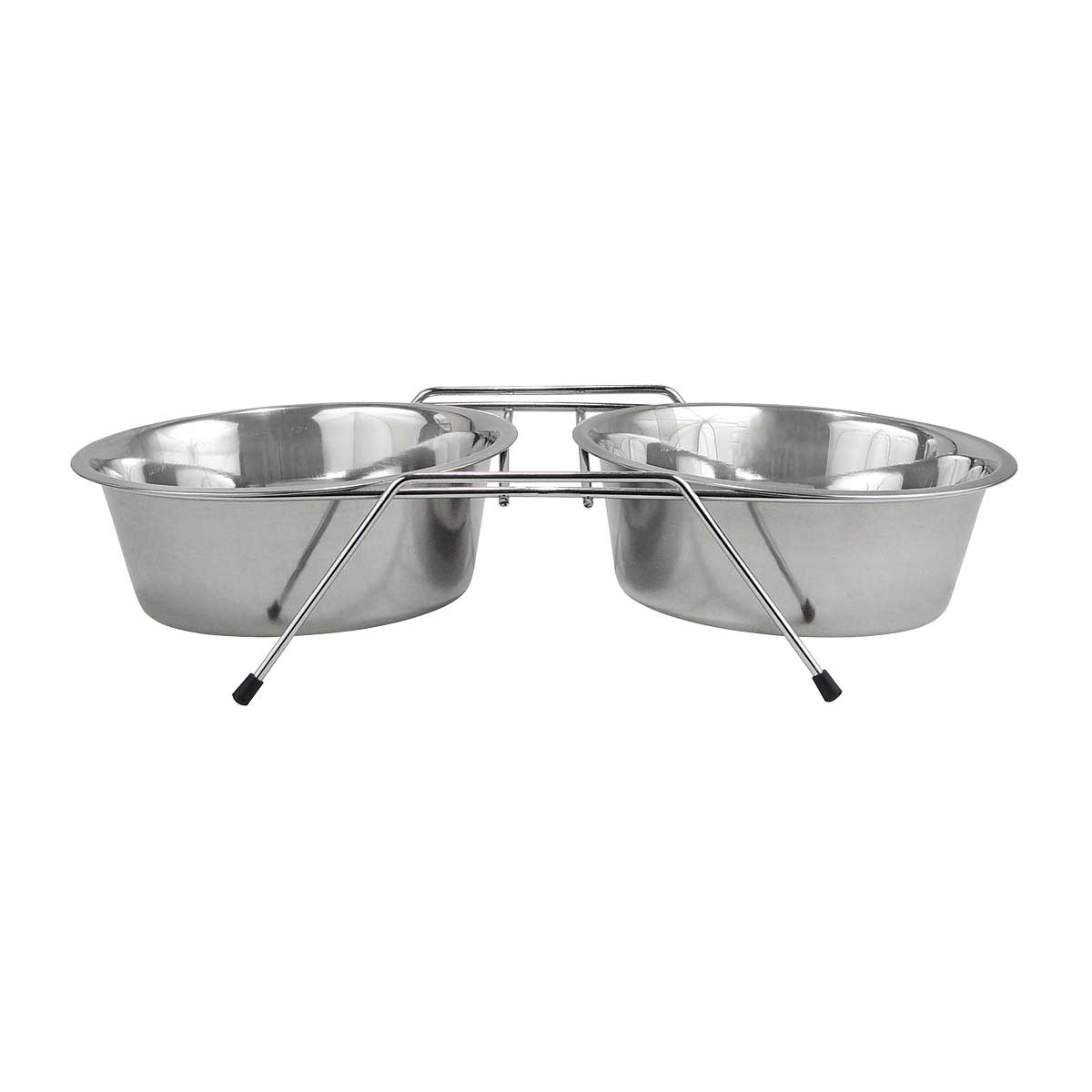 Indipets Stainless Steel Double Diner for Dogs With 2 Quart Bowls