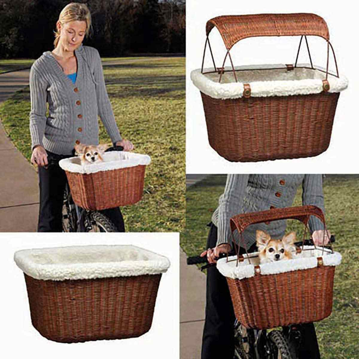 Solvit Tagalong Wicker Bicycle Basket for Dogs or Cats