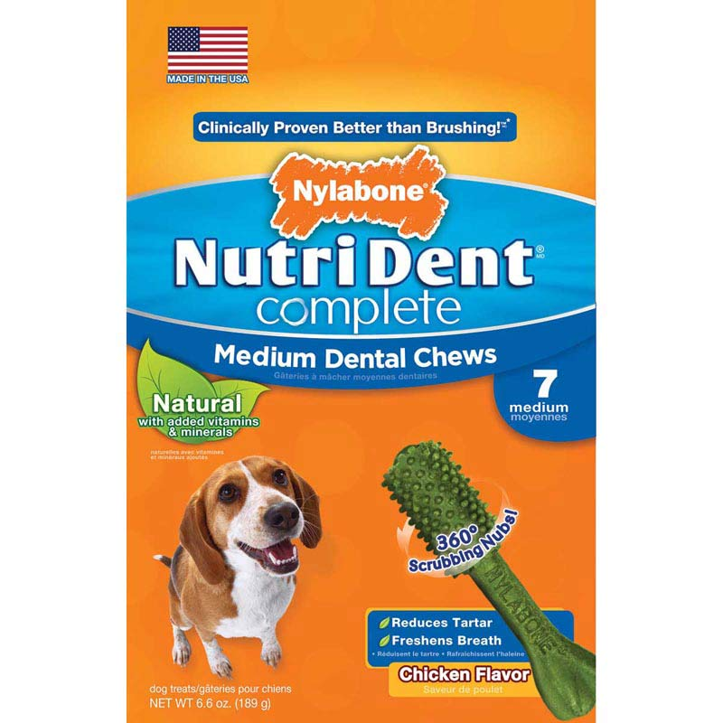 Nylabone Nutri Dent Complete Adult Chicken Medium Dental Chews for Dogs 7 Count