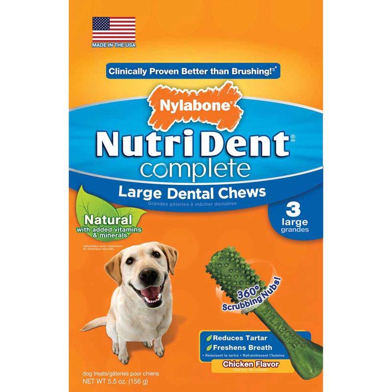 Nylabone Nutri Dent Complete Adult Chicken Dog Bones Large 3 Count