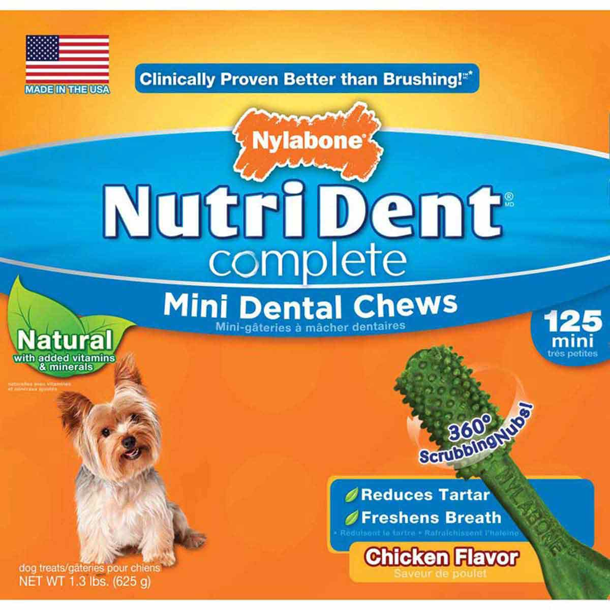 Nylabone Nutri Dent Complete Adult Chicken Flavored Dental Chews Mini 125 Count