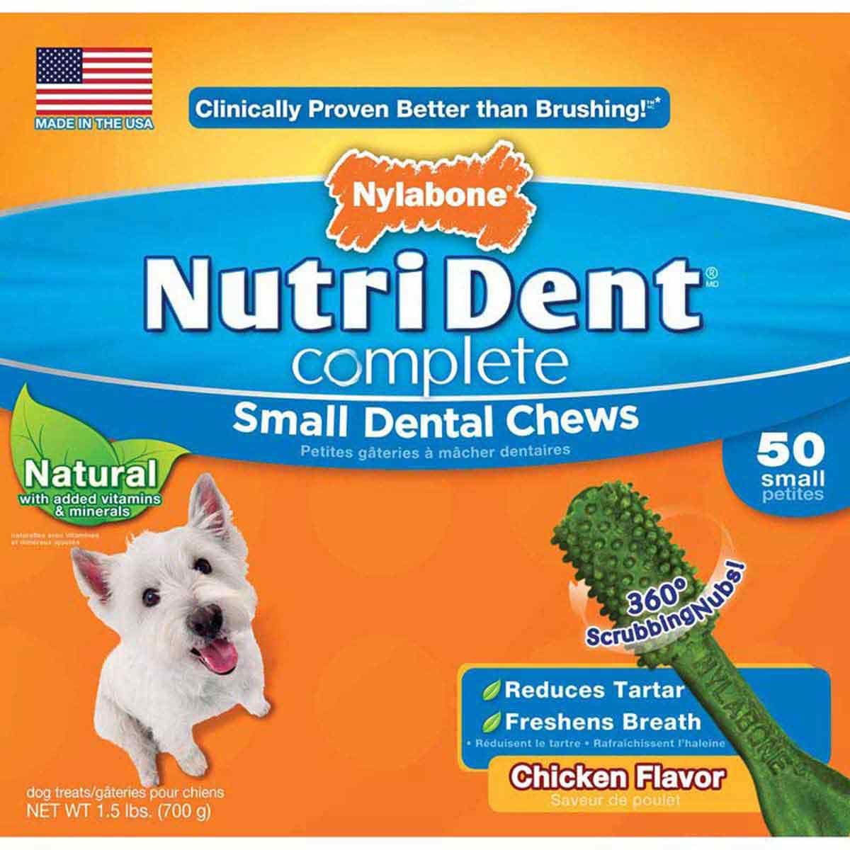Nylabone Nutri Dent Complete Adult Chicken Small 50 Count - Dog Dental Chews