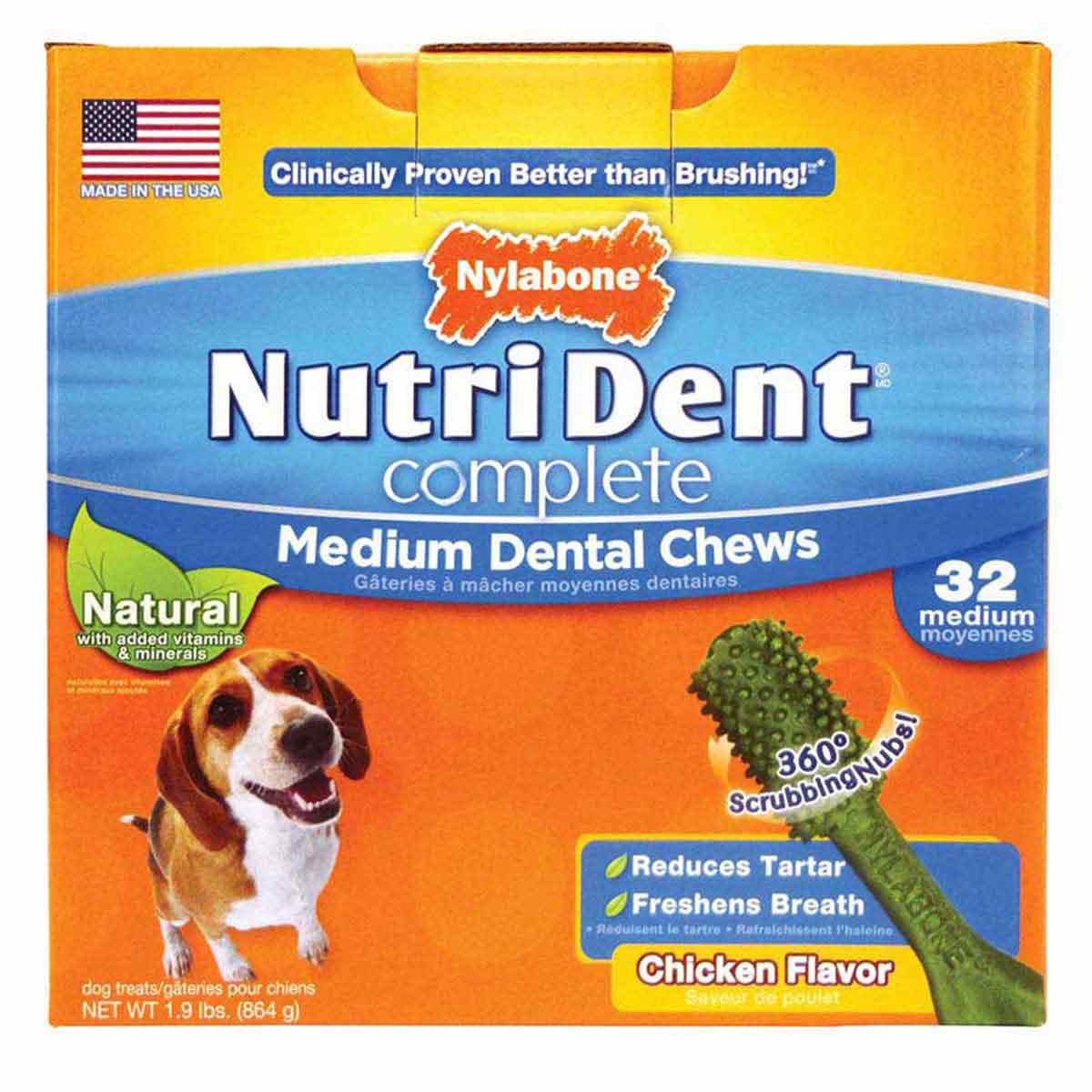 Nylabone Nutri Dent Complete Adult Chicken Dental Chews 32 Count