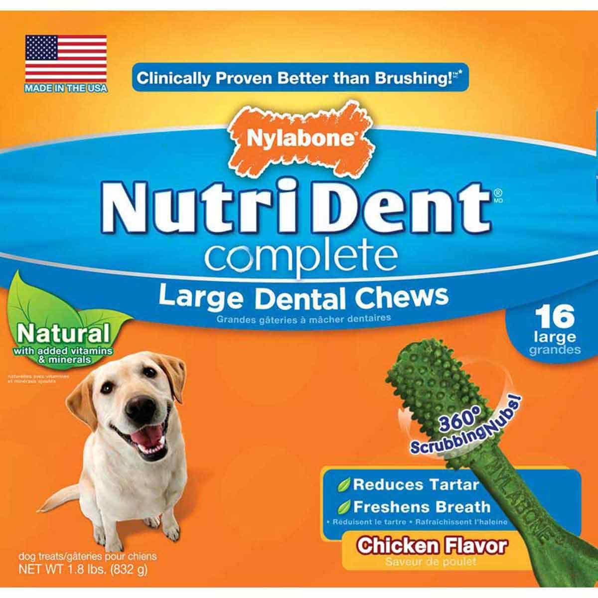 Nylabone Nutri Dent Complete Adult Chicken Flavored Large Dental Chews 16 Count