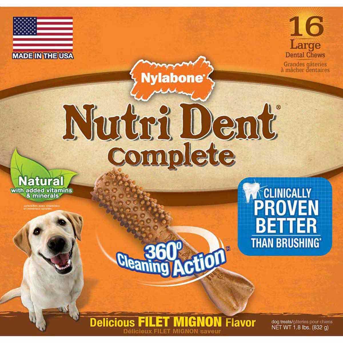 Nylabone Nutri Dent Filet Mignon Flavor - Large Pantry Pack 16 Count