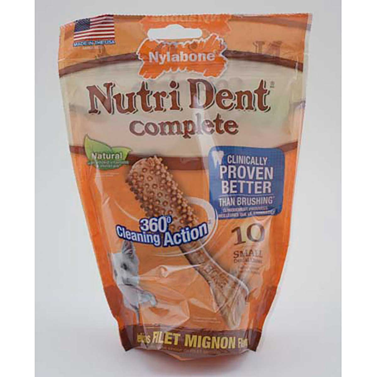 Nylabone Nutri Dent Filet Mignon Small Dental Chews - 10 Count
