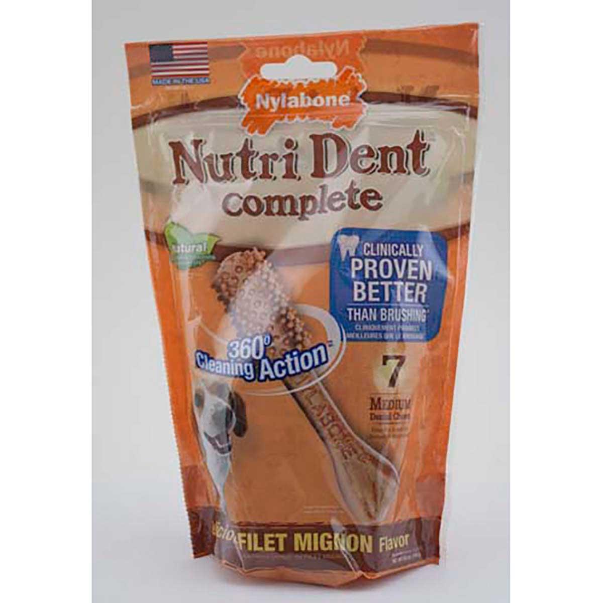Nylabone Nutri Dent Filet Mignon Flavored Medium Dental Dog Chews - 7 Count