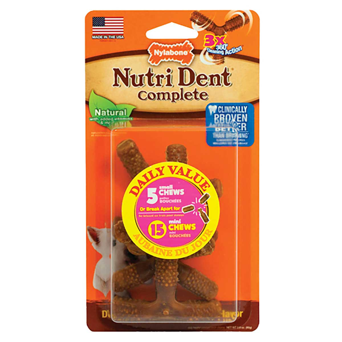 Nylabone Nutri Dent Complete 3 Point Bone Dog Chew Small 5 Count