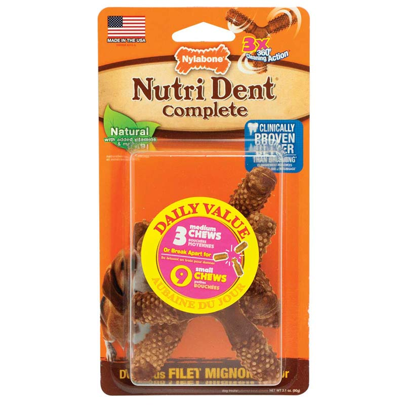 Nylabone Nutri Dent Complete 3 Point Bone Dog Chews - Medium 3 Count