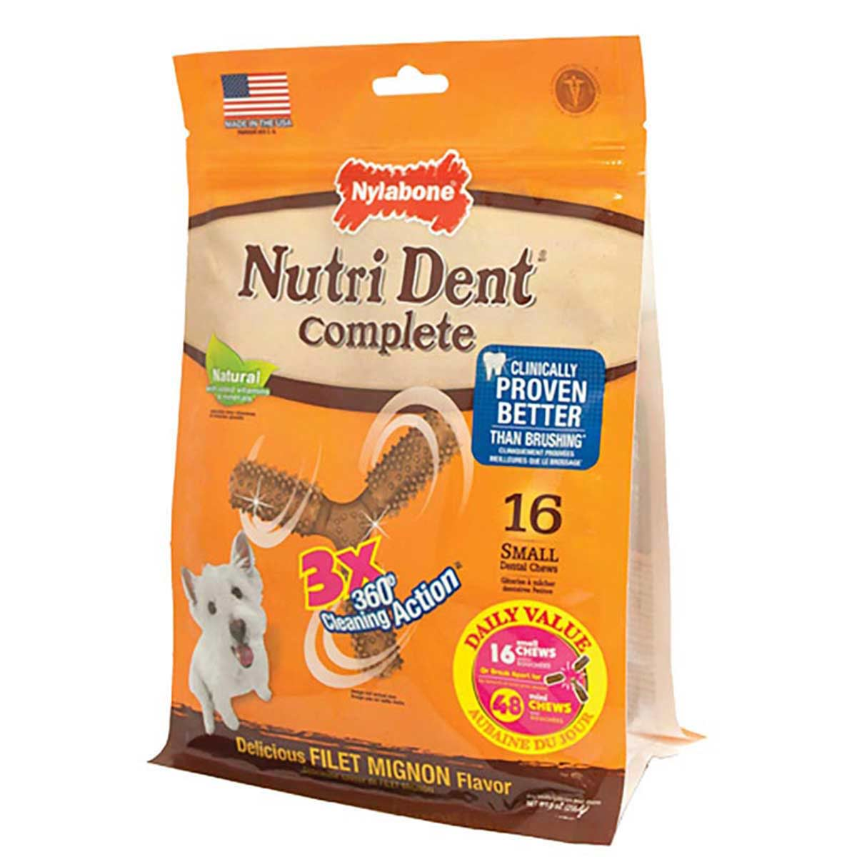 Nylabone Nutri Dent Complete 3 Point Dog Bone Small 16 Count Pouch