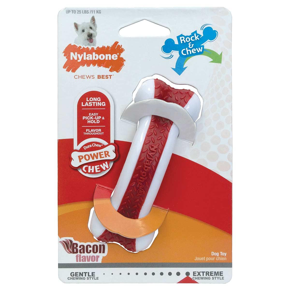 Nylabone Dura Chew Arch Bone Rock and Chew Bacon Regular Dog Chew in Original Packaging