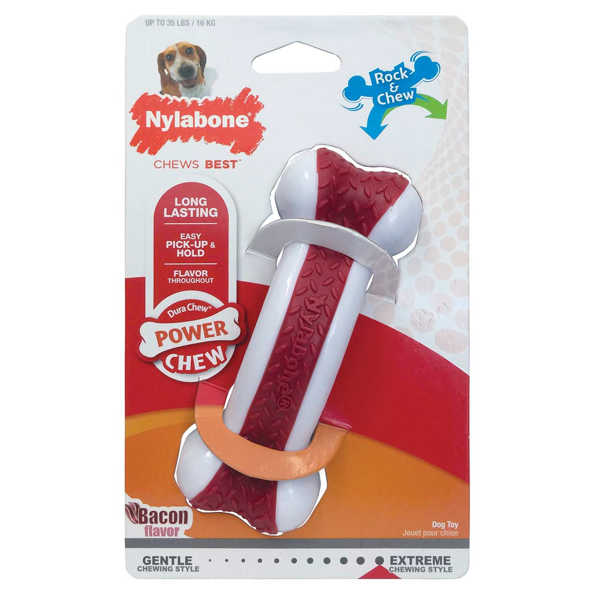 Nylabone Dura Chew Arch Bone and Chew Bacon Flavor Wolf Size Dog Chew