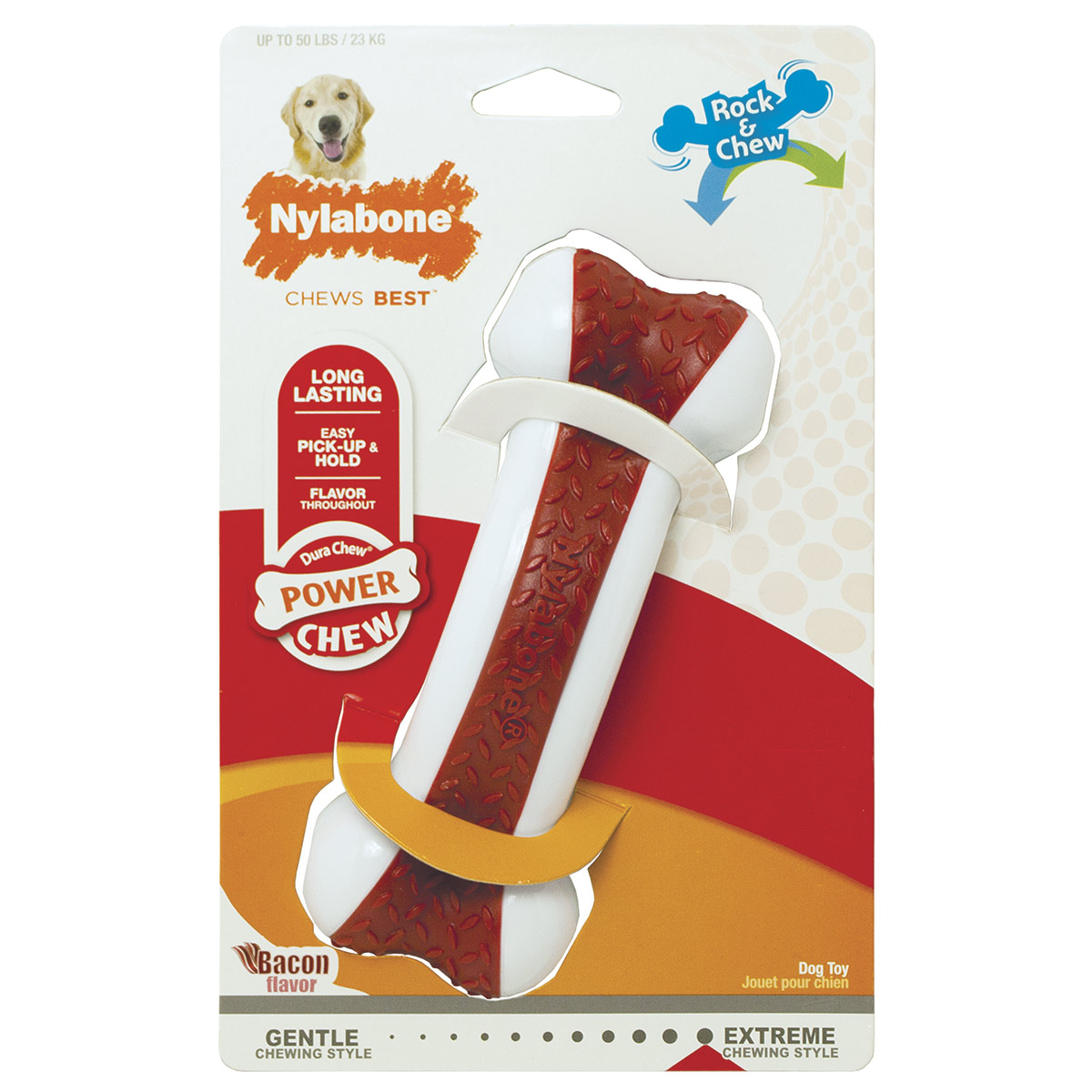 Nylabone Dura Chew Arch Bone for Dogs Giant Size - Rock & Chew Bacon Flavor