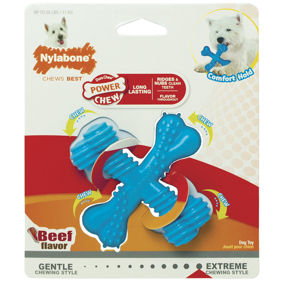"Nylabone Dura Chew Regular ""X"" Bone for Dogs Beef Flavor"