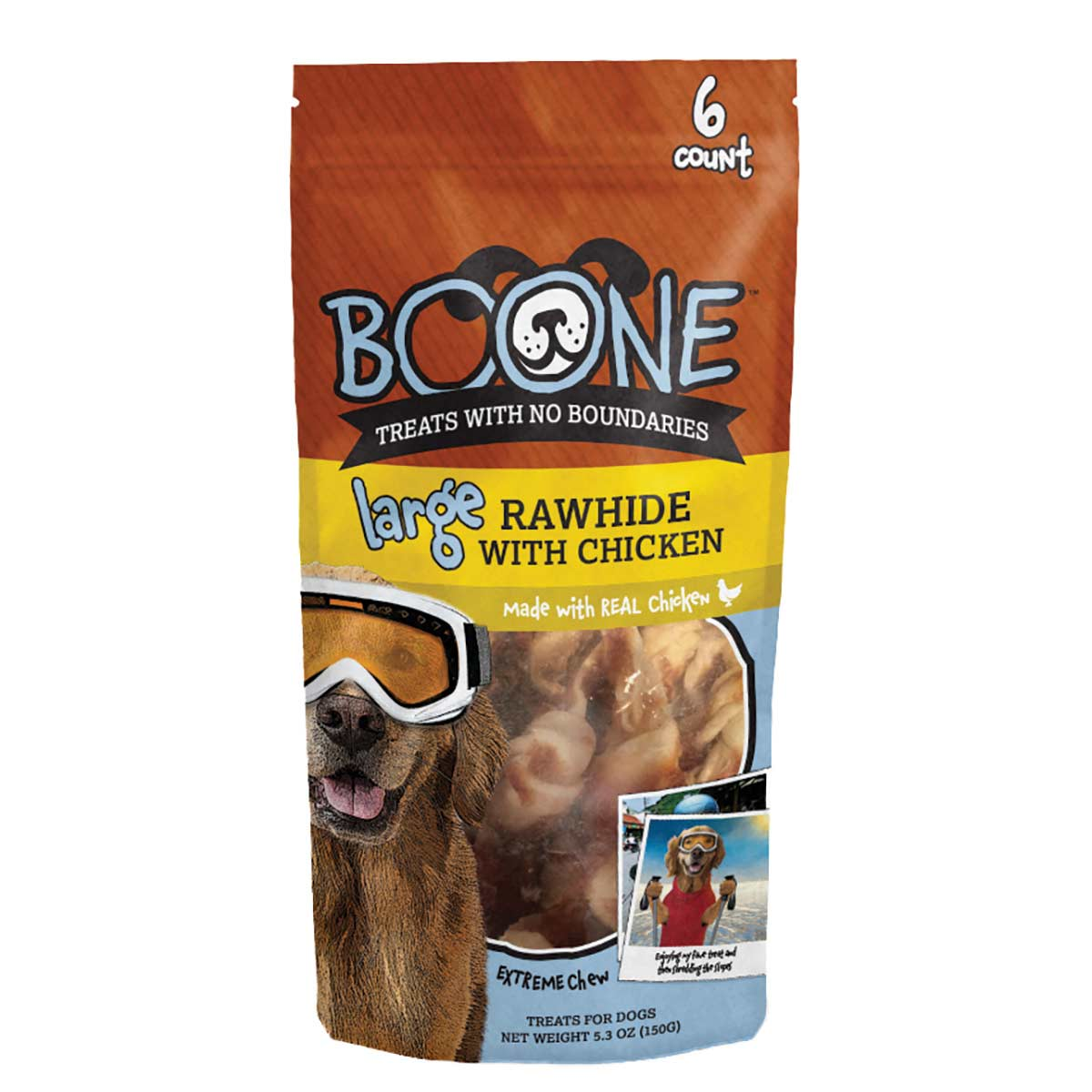 Large 6 Pack Boone Rawhide with Chicken