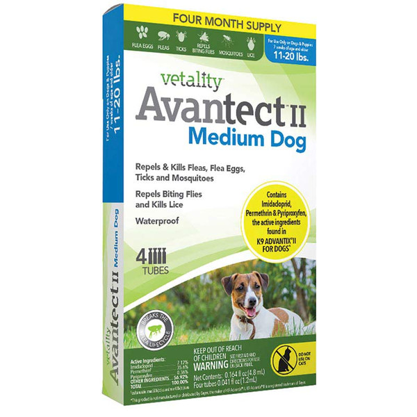 4 months Vetality Avantect II for Dogs 21-55 lbs