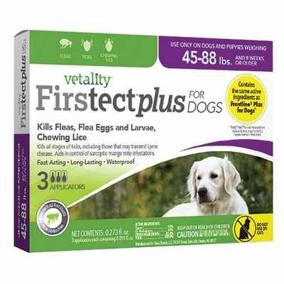 Large Dog Flea Treatment - Vetality Firstect Plus Dogs 45-88 lbs (3 Months)